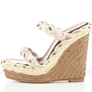 Christian Louboutin Cadena Tresse 140mm Wedges White