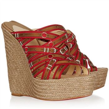 Christian Louboutin Crepon 140mm Wedges Red