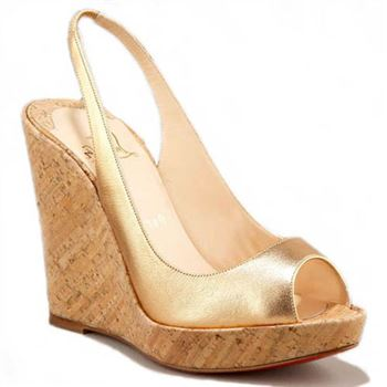 Christian Louboutin Metallic Cork 120mm Wedges Gold