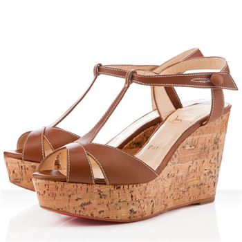 Christian Louboutin Marina Liege 100mm Wedges Fauve