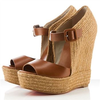 Christian Louboutin Praia Espadrille 140mm Wedges Brown
