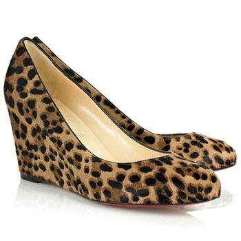 Christian Louboutin Peanut 80mm Wedges Leopard