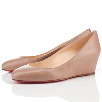 Christian Louboutin New Peanut 40mm Wedges Beige