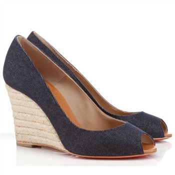 Christian Louboutin Pepi 80mm Wedges Blue