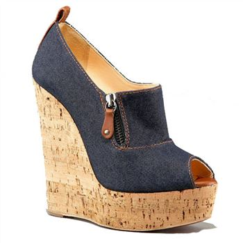 Christian Louboutin Deroba Denim 140mm Wedges Blue