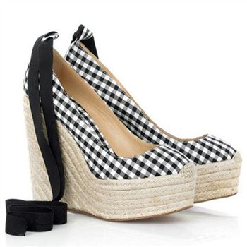 Christian Louboutin Formentera Gingham 140mm Wedges Black/White