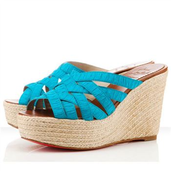 Christian Louboutin Crepon 100mm Wedges Turquoise
