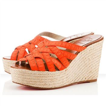 Christian Louboutin Crepon 100mm Wedges Orange