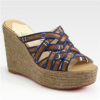 Christian Louboutin Crepon 100mm Wedges Blue