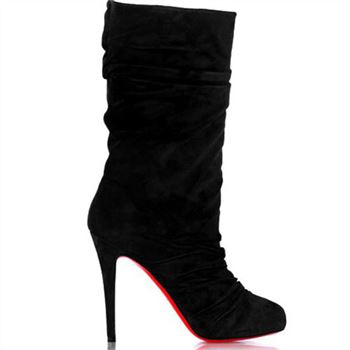 Christian Louboutin Velours Scrunch 100mm Boots Black