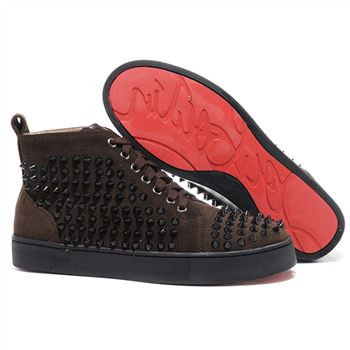 Christian Louboutin Louis Spikes Sneakers Chocolate