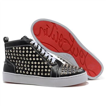 Christian Louboutin Louis Silver Spikes Sneakers Black
