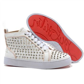 Christian Louboutin Louis Silver Spikes Sneakers White