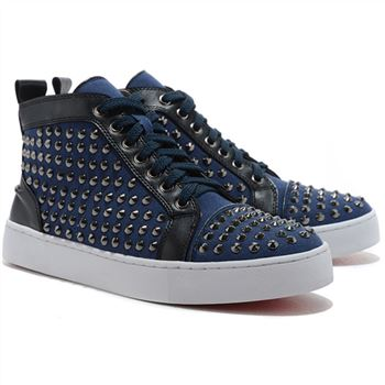 Christian Louboutin Louis Spikes Sneakers Blue