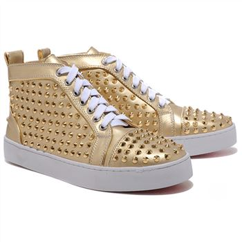 Christian Louboutin Louis Gold Spikes Sneakers Gold