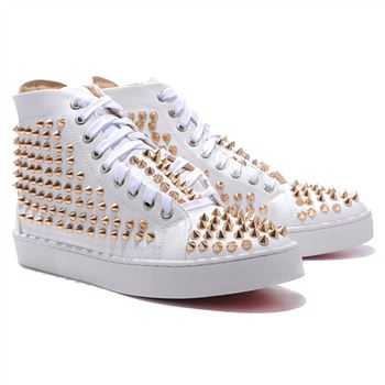 Christian Louboutin Louis Gold Spikes Sneakers White