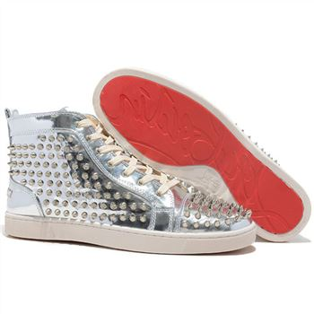 Christian Louboutin Louis Spikes Sneakers Silver
