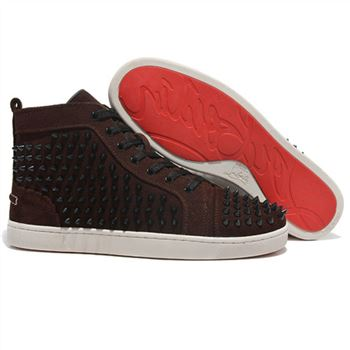 Christian Louboutin Louis Spikes Sneakers Brown