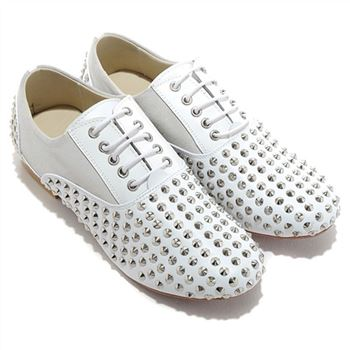 Christian Louboutin Fred Spikes Loafers White