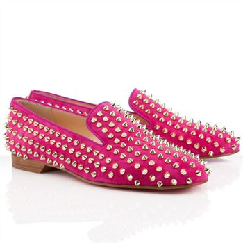Christian Louboutin Rolling Spikes Loafers Rose Matador