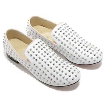 Christian Louboutin Rolling Spikes Loafers White