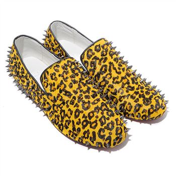 Christian Louboutin Rolling Spikes Loafers Yellow