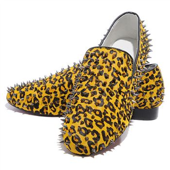 Christian Louboutin Rollerboy Spikes Loafers Gold