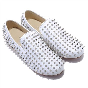 Christian Louboutin Rollerboy Silver Spikes Loafers White