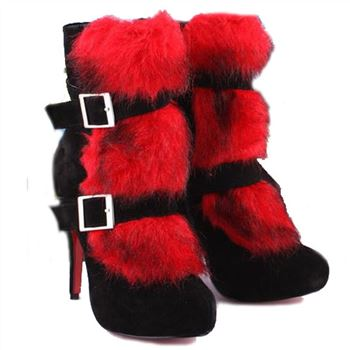Christian Louboutin Toundra Fur 120mm Ankle Boots Red