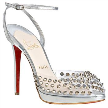 Christian Louboutin Jeannette SPiked 120mm Sandals Silver