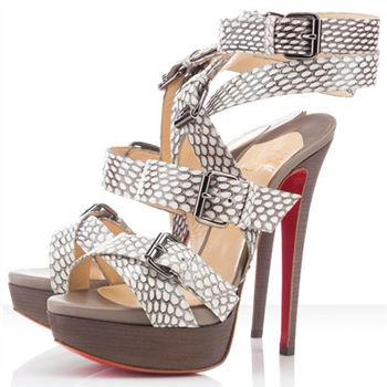 Christian Louboutin Toutenkaboucle 140mm Sandals Light Grey