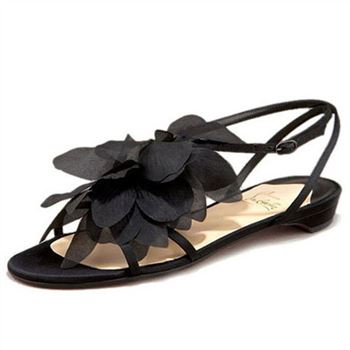 Christian Louboutin Petal Crepe Sandals Black
