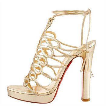 Christian Louboutin Tasseled 120mm Sandals Gold