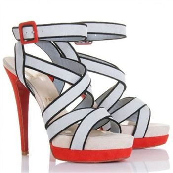 Christian Louboutin Straratata 120mm Sandals Grey