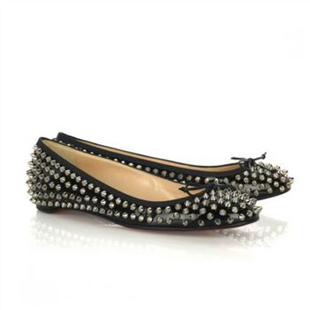 Christian Louboutin Big Kiss Studded Ballerinas Black