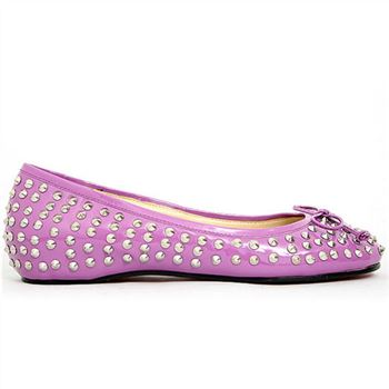 Christian Louboutin Big Kiss Studded Ballerinas Rose