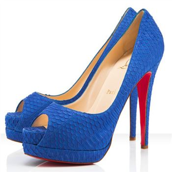 Christian Louboutin Altadama 140mm Peep Toe Pumps Blue Powder