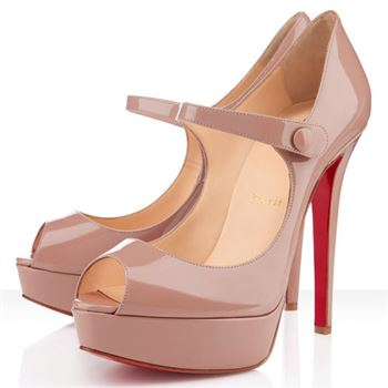 Christian Louboutin Bana 140mm Peep Toe Pumps Nude