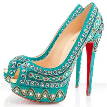 Christian Louboutin Bollywoody 140mm Peep Toe Pumps Caraibes