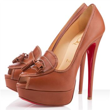 Christian Louboutin Alta Campus 140mm Peep Toe Pumps Fauve