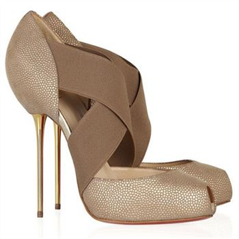 Christian Louboutin Big Dorcet 120mm Peep Toe Pumps Beige