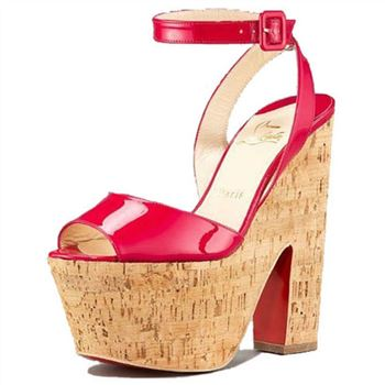 Christian Louboutin Super Dombasle 140mm Wedges Red