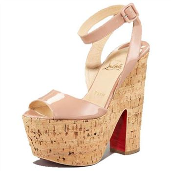 Christian Louboutin Super Dombasle 140mm Wedges Nude