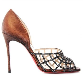 Christian Louboutin Aranea 100mm Peep Toe Pumps Brown