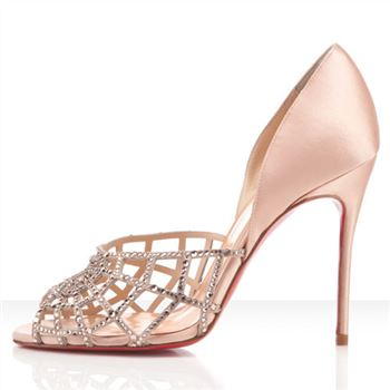 Christian Louboutin Aranea 100mm Peep Toe Pumps Nude