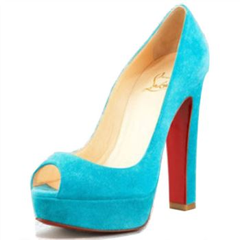 Christian Louboutin Bambou 140mm Peep Toe Pumps Blue