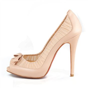 Christian Louboutin Angelique 120mm Peep Toe Pumps Nude