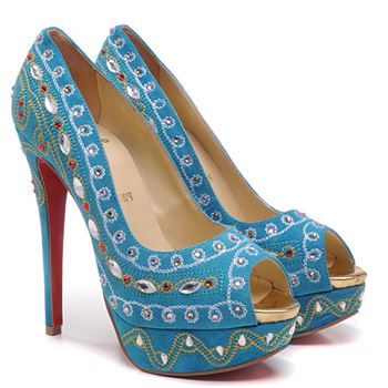 Christian Louboutin Bollywoody 140mm Peep Toe Pumps Blue