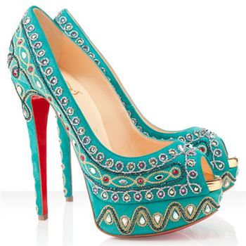 Christian Louboutin Bollywoody 140mm Peep Toe Pumps Turquoise