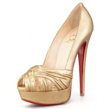 Christian Louboutin Jenny 140mm Peep Toe Pumps Gold